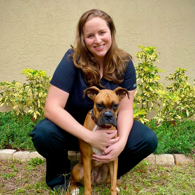 Dr. Mallory Offner and boxer dog